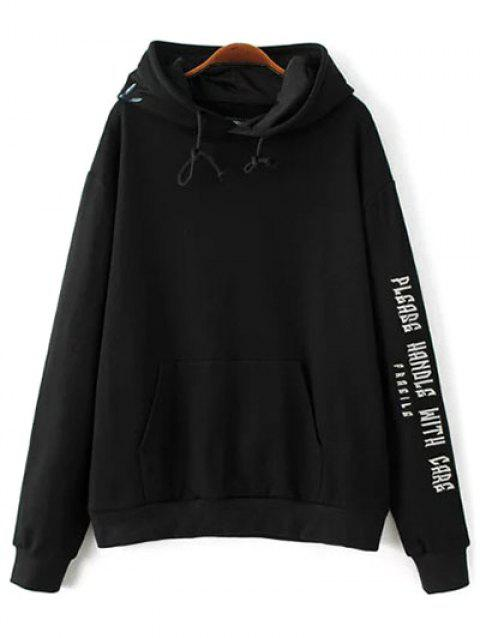 Front Pocket Embroidered Hoodie - BLACK M