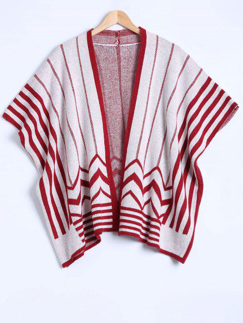 Striped Knit Poncho Cardigan - Rouge ONE SIZE