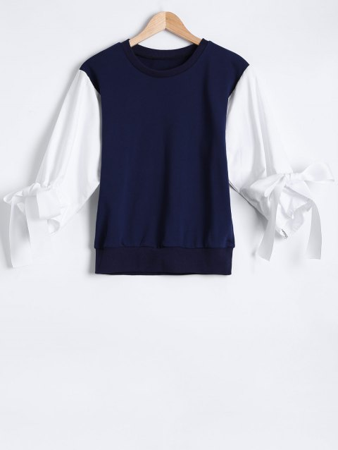 Spliced Lace Up Pullover Sweatshirt - CADETBLUE ONE SIZE