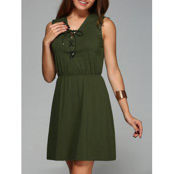 Stylish Women's V-Neck Sleeveless Solid Color Dress