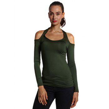 Halterneck Slim Fit Cutout Tee - OLIVE GREEN OLIVE GREEN