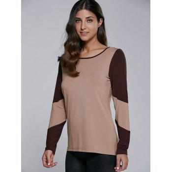 Long Sleeve Contrast Trim T-Shirt - CAMEL CAMEL