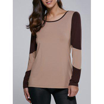 Long Sleeve Contrast Trim T-Shirt - CAMEL S