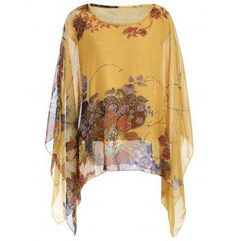 Loose-Fitting Floral Print Asymmetrical Blouse