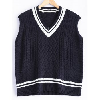 V-Neck Cable-Knit Striped Knitwear