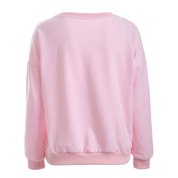 Puppy Print Loose-Fitting Sweatshirt - PINK S