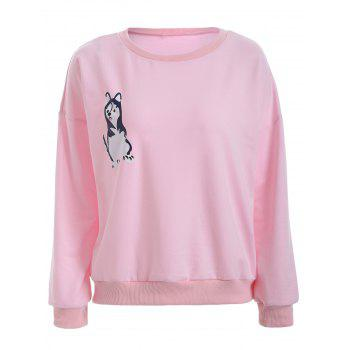 Puppy Print Loose-Fitting Sweatshirt
