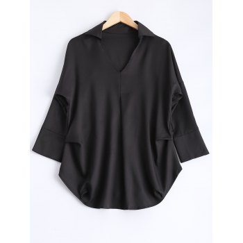Loose Fit V Neck Asymmetric Blouse