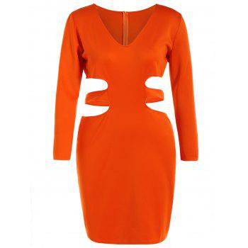 Long Sleeve Cut Out Plus Size Club Dress