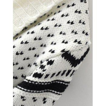 Tribal Pattern Knitted Cardigan - OFF WHITE ONE SIZE