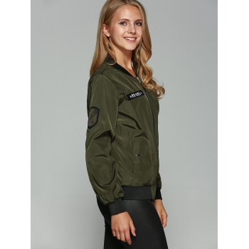 Patched Printed Bomber Jacket - ARMY GREEN S