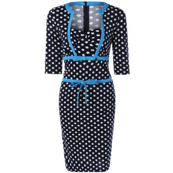 Polka Dot Bowknot Midi Dress