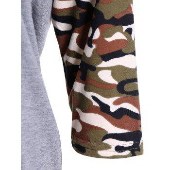 Camouflage Long Sleeve Happy Letter T-Shirt - 2XL 2XL