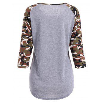 Camouflage Long Sleeve Happy Letter T-Shirt - M M