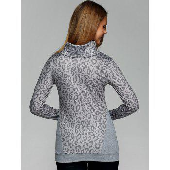Cowl Neck Leopard Print Tee with Gloves - GRAY GRAY