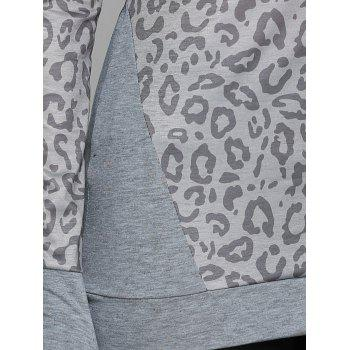 Cowl Neck Leopard Print Tee with Gloves - XL XL