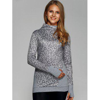 Cowl Neck Leopard Print Tee with Gloves - L L