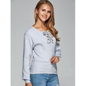 Long Sleeve Lace Up Tee - gris 2XL
