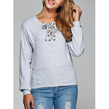 Long Sleeve Lace Up Tee - GRAY 2XL