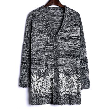 Heathered Patterned Jacquard Long Knitwear