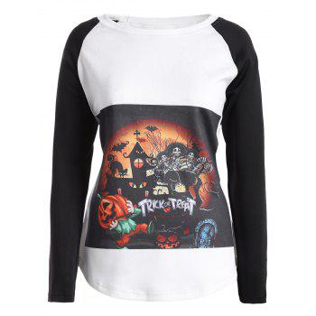 Halloween Raglan Sleeve T Shirt - WHITE 4XL