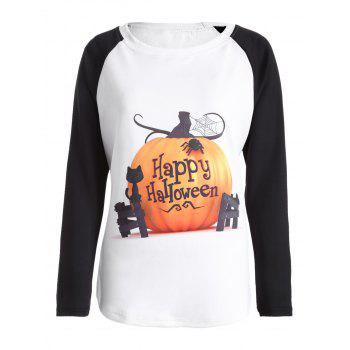 Raglan Sleeve Happy Halloween T Shirt - WHITE 2XL