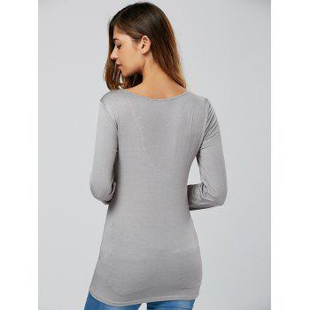 Lace-Up Long Sleeve T Shirt - S S