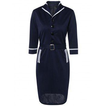 Navy Style Belted Bodycon Dress