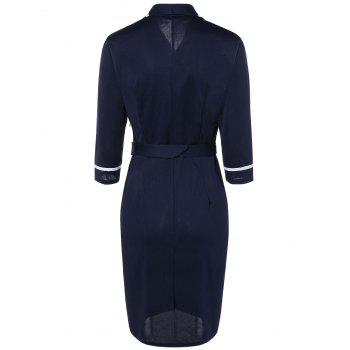 Navy Style Belted Bodycon Dress - NAVY BLUE S