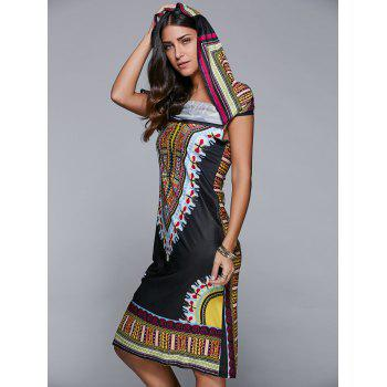 Hooded Stretchy Ethnic Print Dress