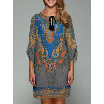 3/4 Sleeve Ornate Printed Shift Dress