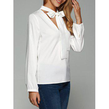 Long Sleeve Self-Tie Slimming Blouse