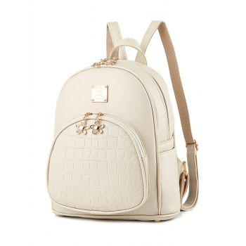 Metallic Flowers PU Leather Crocodile Embossed Backpack