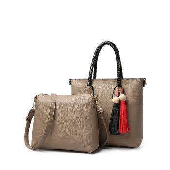 Wood Bead Tassel Braid Handle Tote
