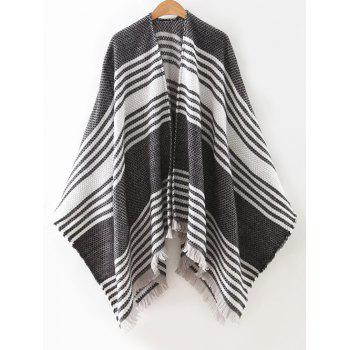 Fringed Striped Cape Cardigan