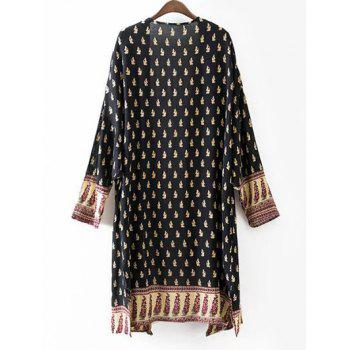 Bohemian Open Front Long Chiffon Kimono - PURPLISH BLUE PURPLISH BLUE