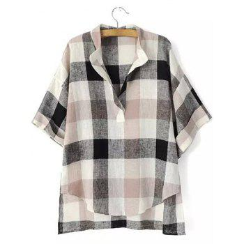 High Low Hem Plaid Print Blouse