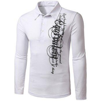 Turn-Down Collar Long Sleeve Graphic Print Polo T-Shirt