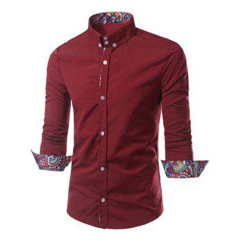 Ethnic Style Pattern Splicing Turn-Down Collar Button-Down Shirt