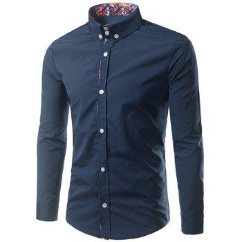 Ethnic Style Pattern Splicing Turn-Down Collar Button-Down Shirt - PURPLISH BLUE L