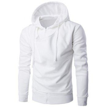 Buy Double Zipper Design Hooded Drawstring Hoodie WHITE
