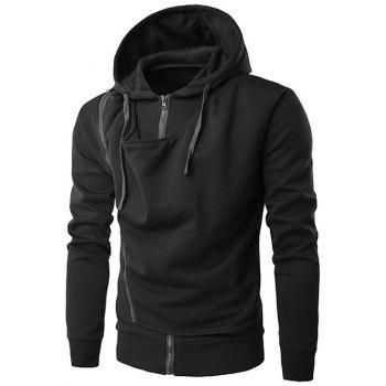 Double Zipper Design Hooded Drawstring Hoodie