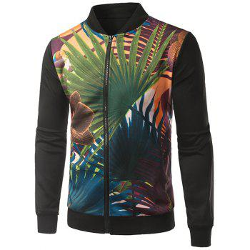 Rib Splicing Palm Frond Print Stand Collar Zip-Up Jacket