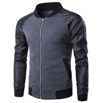 Raglan Sleeve PU-Leather Splicing Stand Collar Zip-Up Jacket