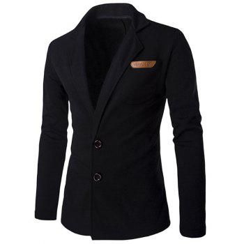 Lapel Single-Breasted PU-Leather Applique Cotton Blends Jacket