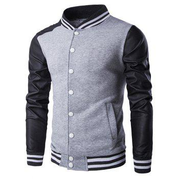 Stand Collar PU-Leather and Stripe Rib Splicing Jacket