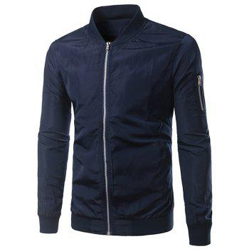 Rib Splicing Stand Collar Zip-Up Polyester Jacket