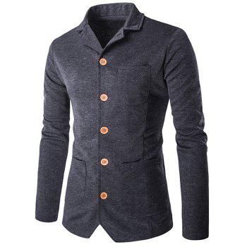 Single-Breasted Pockets Design Turn-Down Collar Jacket