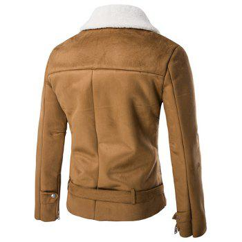 Moto col rabattu Zip-Up Suede Jacket - BRUN XL