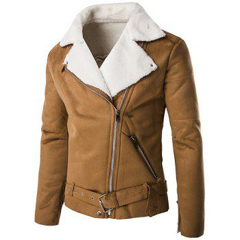 Moto Turn-Down Collar Zip-Up Suede Jacket